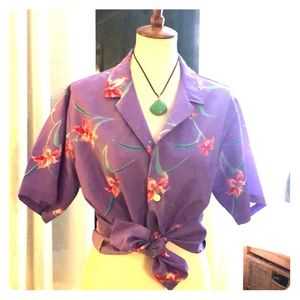 Made in Hawaii vintage shirt/ purple poly- size xl